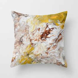 Brown, White and Yellow Abstract Art Throw Pillow
