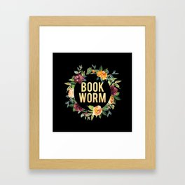 Autumn Bookworm - Black Framed Art Print