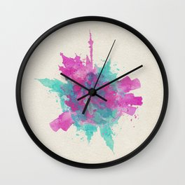 Moscow, Russia Colorful Skyround / Skyline Watercolor Painting Wall Clock