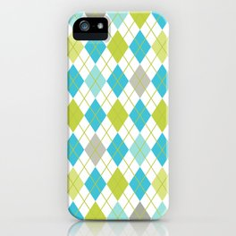 Retro 1980s Argyle Geometric Pattern in Modern Bright Colors Blue Green and Gray iPhone Case