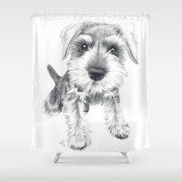 schnauzer Shower Curtains featuring Schnozz the Schnauzer by Beth Thompson