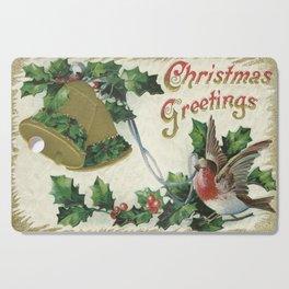 Christmas Snowbird and Golden Bells Cutting Board