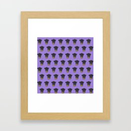 """Cherry on Pup"" Black Pug Cake Pattern Purple Framed Art Print"