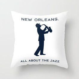 New Orleans Music Festival Jazz Saxophone Musician Design Throw Pillow