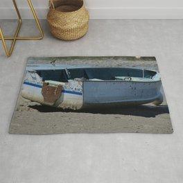 Blue Boat In Mud Rug
