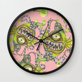 Slick Fish with Bubbles - Girly Pink Wall Clock