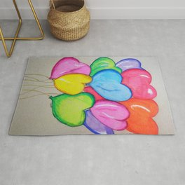Love heart balloons Rug