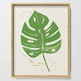 Linocut Leaf Serving Tray