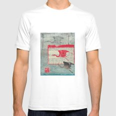 Blue Heron Collage Mens Fitted Tee White MEDIUM