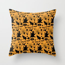 Orange Halloween Pattern - Ghost, Skeleton, Spider, Web, Flying Witch, Bat Throw Pillow