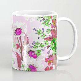 Elegant white Sunflowers and Pink floral garland Coffee Mug