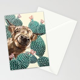 Sneaky Highland Cow and Cactus in yellow Stationery Cards