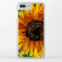 Distressed Sunflower Clear iPhone Case