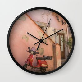 Red Scooter in Sicily Wall Clock