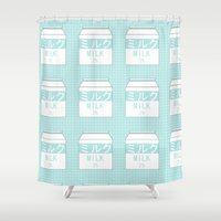 milk Shower Curtains featuring Milk by Lazy Queen