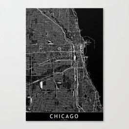 Chicago Black Map Canvas Print