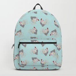 Floral Rooster Illustrated Print Spring Flowers Farm Chicken Backpack