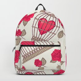 Seamless pattern with flowers and bird cages. Roses and hearts.  Backpack