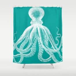 Octopus | Teal and White Shower Curtain
