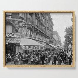 Le Dome Cafe, Paris - Hemingway's Favorite Haunt black and white photograph Serving Tray