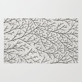 Berry Branches – Silver & Black Rug