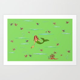 Fashionable mermaid - green Art Print