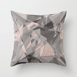Shattered - Rose Gold Throw Pillow