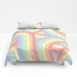 Soft Pastel Rainbow Stripes Pattern Comforters