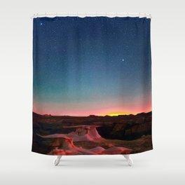 Bisti Badlands Hoodoos Under New Mexico Stary Night Shower Curtain