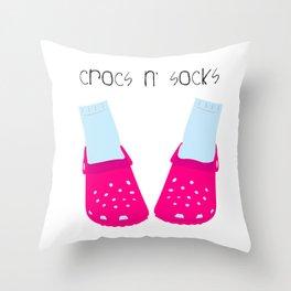Crocs n' Socks Throw Pillow