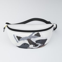 raccoon and butterfly. Vector graphic character Fanny Pack
