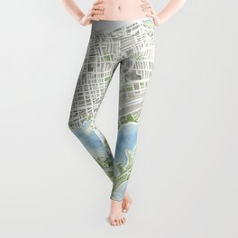 Toronto Canada Watercolor city map Leggings