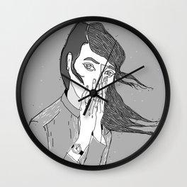 gray girl Wall Clock