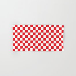 Red Checkerboard Pattern Hand & Bath Towel