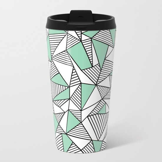 Abstraction Lines with Mint Blocks Metal Travel Mug