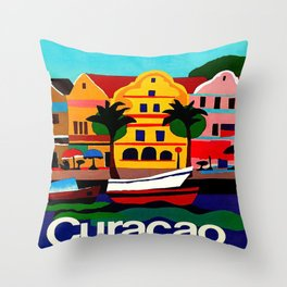 Curacao Vintage Travel Poster Throw Pillow