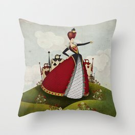 Off with their heads Queen of hearts from Alice in Wonderland Throw Pillow