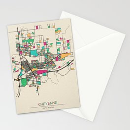 Colorful City Maps: Cheyenne, Wyoming Stationery Cards