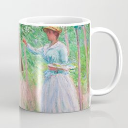 Claude Monet - In the Woods at Giverny, Blanche Hoschedé at Her Easel with Suzanne Hoschedé Reading Coffee Mug
