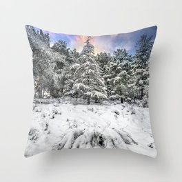 """""""Mountain Light IV"""" Snowy Forest At Sunset Throw Pillow"""