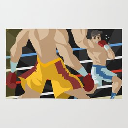 boxer performing an uppercut punch on opponent Rug