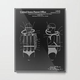 Jacques Cousteau Diving Gear Patent - Black Metal Print