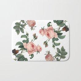 Rose Garden Butterfly Pink on White Bath Mat