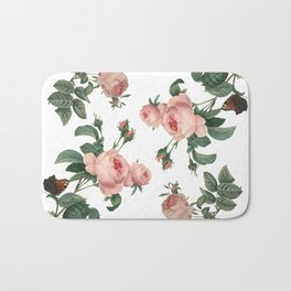 Rose Garden Butterfly Pink on White Bath Mat
