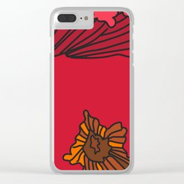 Snazzy Fall Flowers on Red Clear iPhone Case