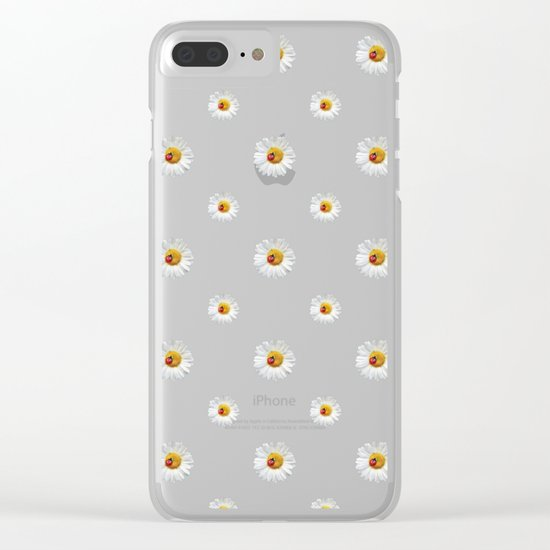 Flower Flowers Daisies in love- pink floral pattern Clear iPhone Case