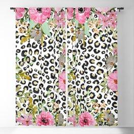 Elegant leopard print and floral design Blackout Curtain