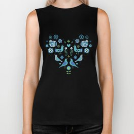 Scandi Folk Birds - blue & white Biker Tank