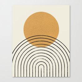 Gold Sun rainbow mid-century full Canvas Print