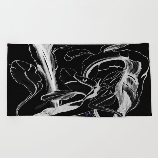 Plant in Blue Marker - Leaf of Life Miracle Leaf - White on Black Beach Towel